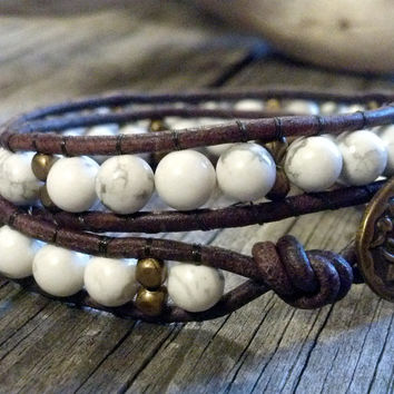 Double Wrap White Howlite Bracelet, Double Leather Wrap, Shabby Chic, Gemstone