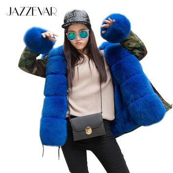 JAZZEVAR Women's Army Green Luxury Large Fox Fur Collar Cuff Hooded Coat Parkas Outwear Camouflage Winter Jacket Coat