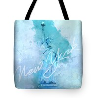 New York City - Statue Of Liberty - Blue Tote Bag
