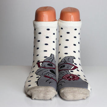 Dog Socks Gray Polka Dots Red Spectacled Dog Girls Socks Boys Socks Women Socks Funny Socks Ankle Socks Animal Socks Cute Fun Socks Cotton