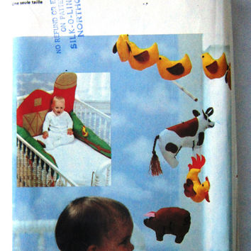 1970s Vintage Uncut Sewing Pattern Butterick 6854 Baby Nursery Accessories, Barnyard Animals Mobile and Crib Bumper Pads, Infant Room Decor