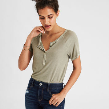 AE Soft & Sexy Henley Snap Front T-Shirt, Olive