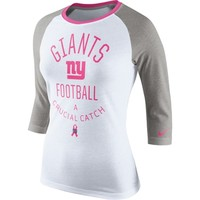 Women's New York Giants Nike White/Gray Breast Cancer Awareness Tri-Blend Raglan T-Shirt