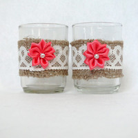 Candle Holder Burlap and Ivory Lace Votive Tealight With Coral Satin Flower Set of 2 Rustic Shabby Chic Beach Wedding Decor