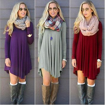 Fashion Clothes Women Autumn Winter Dress Cotton O-neck Long Sleeve Mini Woolen Dresses