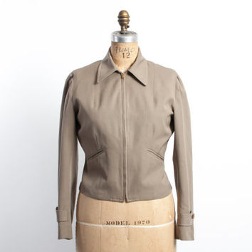 Vintage 50s JACKET / 1950s Beige Gabardine Cropped 7 Fitted PENDLETON Jacket M