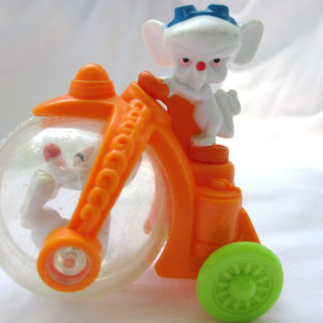 Vintage Pink and the Brain Happy Meal Toy Car