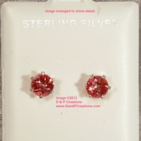 Round Cut Pink Topaz Stud Earrings Sterling Silver Setting Posts