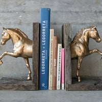 Metallic Gold Saddlebred Sculpture Horse Bookend