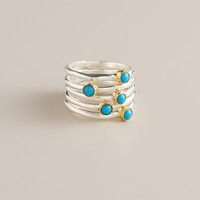 Sterling Silver and Turquoise Stackable Rings, Set of 6 - World Market