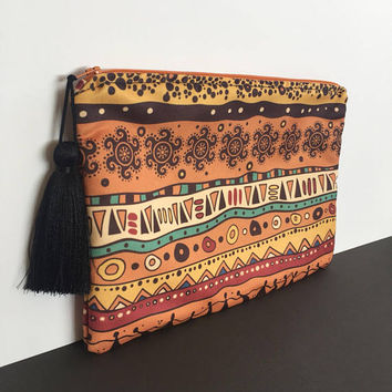 Ethnic CLUTCH/BOHO Clutch Bag/Bohemian Clutch/Handbag/Ethnic Zipper Clutch/ Suede Bag/Gift For Her-BOHEMIAN