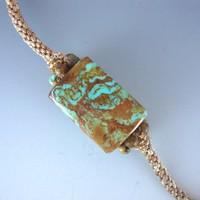 Jewelry Pendant Arizona Boulder Turquoise on Kumihimo Braided Cord