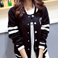 Stand Collar Long Sleeve Baseball Jacket