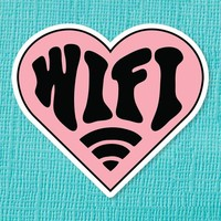 Wifi Heart Die Cut Vinyl Sticker