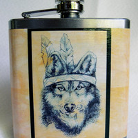 American Indian Flask - Wolf
