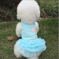Cloth Net Yarn One-piece Pet Puppy Dog Bubble Skirt Dress Blue XS