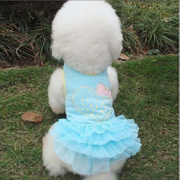 Cloth Net Yarn One-piece Pet Puppy Dog Bubble Skirt Dress Blue XS = 1958143492