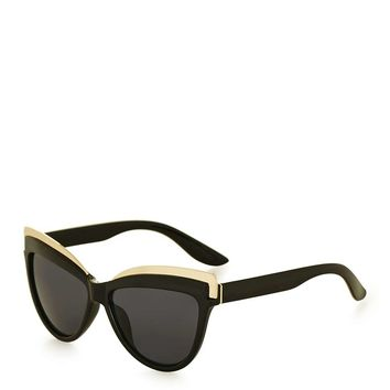 Sheldon Black Metal Detail Cateye Sunglasses - Topshop