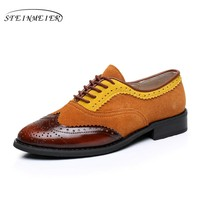 Genuine leather women shoes round toe flats handmade woman US size 10 vintage 2017 oxford shoes for women brown yellow fur