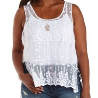 Plus Size White Embroidered Mesh High-Low Tank Top by Charlotte Russe