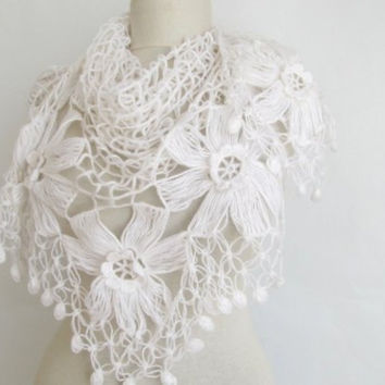 Christmas gift -Wedding shawl-flower shawl-white shawl-asuhan-hijab-wedding gift-FREE Shipping-baptism gift