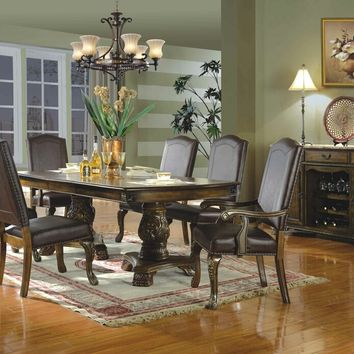 7 pc Donica II brown finish wood double pedestal dining table set with carved accents