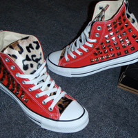 Custom Converse Chuck Taylors studded on both sides with faux leopard fur -any size and color- (made to order)