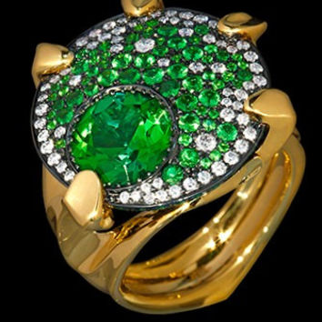 """Mousson Atelier Cosmos Collection""""UFO"""" Green Tourmaline, Tsavorite and Diamond Ring R0038-0/9"""