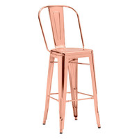 Elio Industrial Style Bar Chair Rose Gold Steel