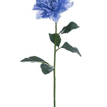 "Artificial Dahlia Flower Stem in Blue - 28"" Tall"