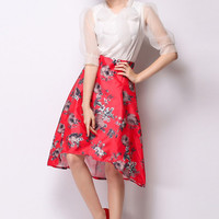 Red Floral Swing High-Low Skirt - OASAP.com