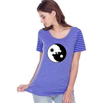 Yoga Clothing For You Yin Yang Wolves Striped Multi-Contrast Yoga Tee Shirt