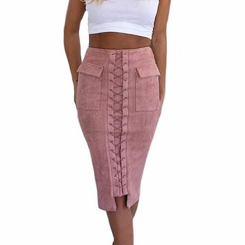 GZHOUSE Vintage Casual Lace Up Suede Leather Long Pencil Skirt Women High Waist Pocket Preppy Slim Maxi Midi Skirts Jupe 2017