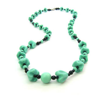 Long Art Deco Beaded Necklace Czech Molded Jade Green Glass Bell Flower Beads Black Rounds Graduated Vintage 1920s Fashion Jewelry