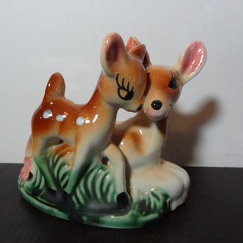 Vintage Ceramic Deer/Doe and Fawn Planter/Figurine - Mama and Baby Deer Planter/Container