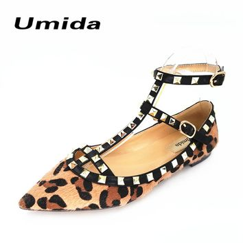 Umida Brand Sexy Leather Shoes Leopard Pattern Women Flats Rivets Shoes Pointed Toe Women Shoes Ankle Straps Flats Shoes Women