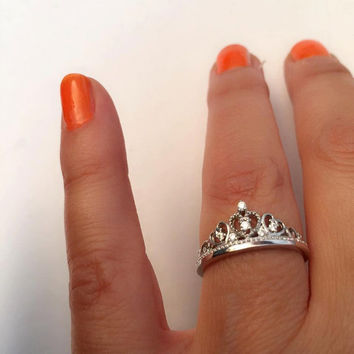 Crown ring - Princess ring - Crown rings - Bridesmaid ring -  royalty ring -  925 Sterling Silver Crown Ring