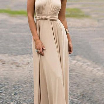 Sashes Cross Back Halter Neck V-neck Backless Banquet Party Maxi Dress