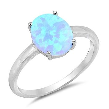 Sterling Silver 10mm Oval Created Light Blue Opal Solitaire Ring