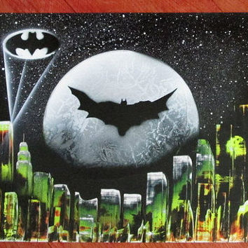 batman spray paint art, batman poster,space painting,galaxy painting,galaxy decor,batman gifts,kids room decor,nursery decor,comic art