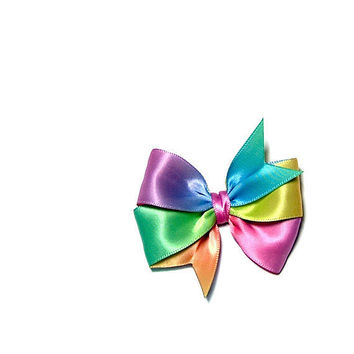 Rainbow Pinwheel Bow Ombre Satin 25 inch Double by MySweetieBean