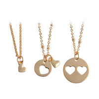 Gift New Arrival Jewelry Shiny Heart Double Color Stylish Innovative Necklace [11652444879]