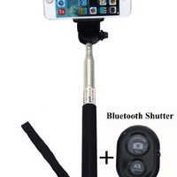 Selfie Stick Monopod with Bluetooth Remote, iOS and Android compatible - With luxury pouch - Color: Black
