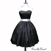 Satin Black Audrey Swing Dress with silver straps