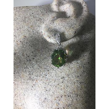 Vintage Handmade Sterling Silver genuine green peridot and white sapphire earrings