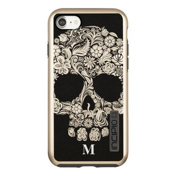 Monogram Black and White Floral Sugar Skull Incipio DualPro Shine iPhone 7 Case