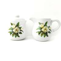 Magnolia Cream and Sugar Set, Vintage Milk Pitcher with Flower Details on Both Sides / Creamer and Sugar Pot with Lid / Kitchen Decor