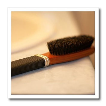 3dRose ht_64948_3 A Mans Hairbrush Sitting on a Counter in The Bathroom-Iron on Heat Transfer Paper for White Material, 10 by 10-Inch