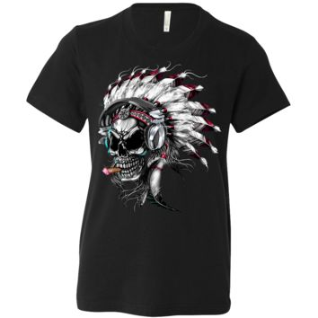 Indian Head Skeleton Chief Asst Colors Youth T-Shirt/tee