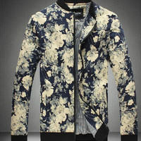 2016 New Arrival man Jackets Coats Men Outwear Mens Fashion Jacket Coat Men Clothes Flower Style Jacket